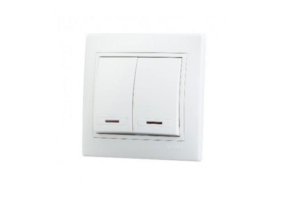 Выкл. 2-кл  Magenta V01-11-V22-S белый/инд в сб.
