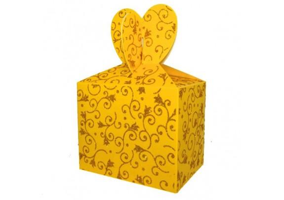 Коробка 10771-1Y Жёлтая/блёстки
