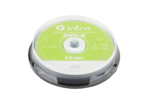 диск DVD-R Intro 4.7Gb. /16x/Cake/10 шт