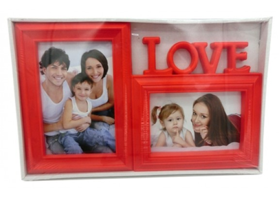 фоторамка Supper 5302 2фото 10*15/LOVE/красная