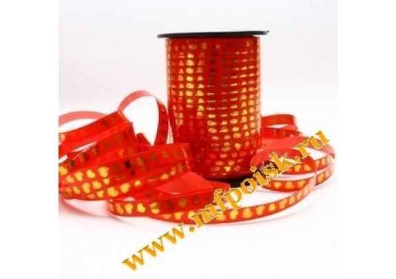 Лента Декоративная 5мм*230м  красная/золото