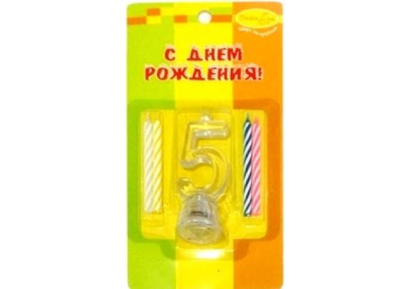 Свечи д/торта держатель МИГАЮЩ.7см/4шт/Цифра 5