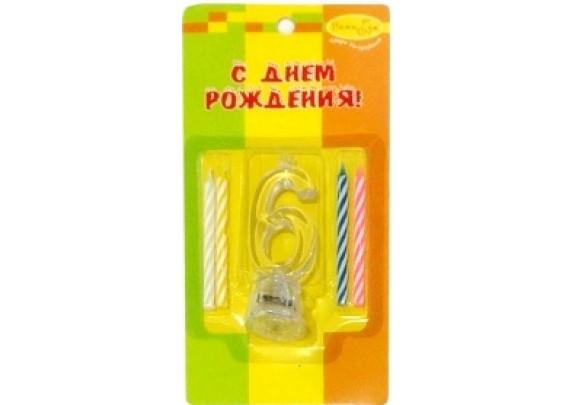 Свечи д/торта держатель МИГАЮЩ.7см/4шт/Цифра 6