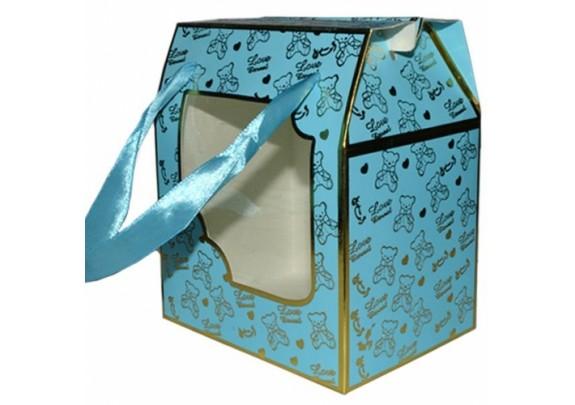 Коробка 10774-2 Голубая/окно/12*14,5*9см