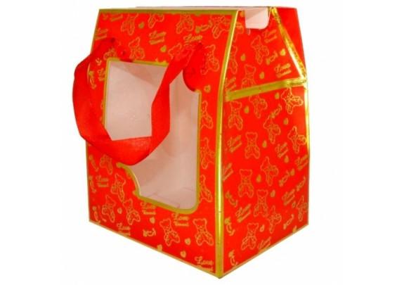 Коробка 10774-2R Красная/окно/12*14,5*9см