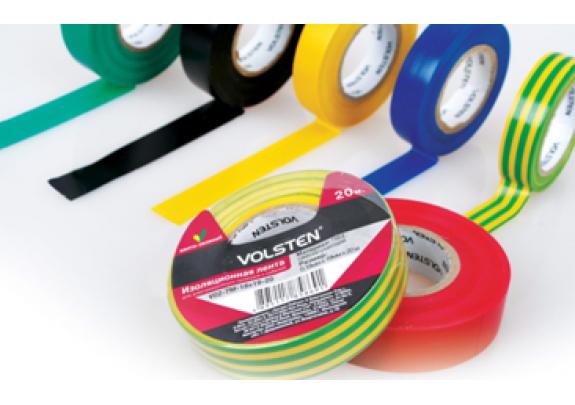 Изолента Volsten V02-7B-18x19мм*20м/ черная/10