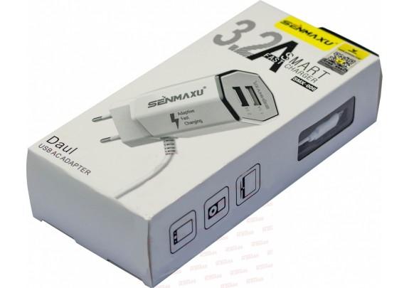 Адаптер сетевой Senmaxu SMX-006 microUSB+2USB/3.2A