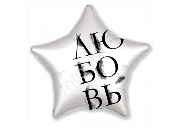 Шар-Фольгир/Звезда 763 Серебро  Любовь 52см
