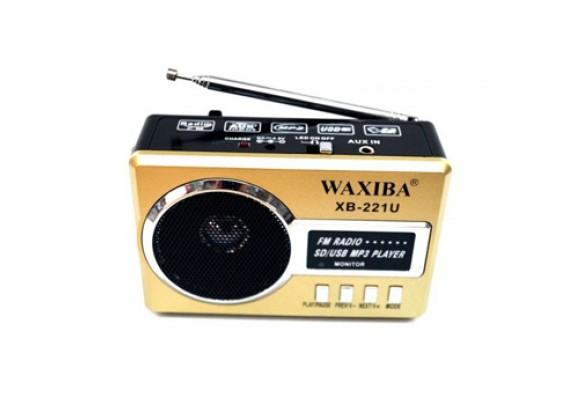 Радиоприемник WAXIBA XB-221 USB/SD/FM/фонарь/золот
